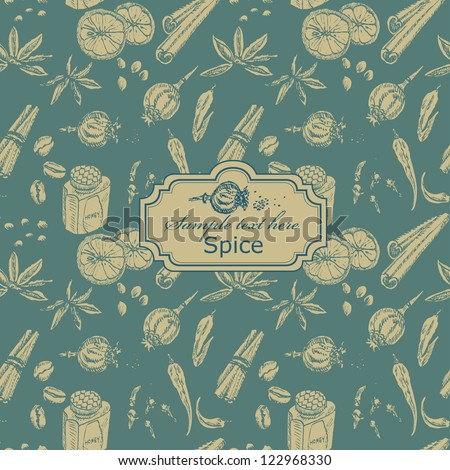 Seamless spice pattern with label in vector - stock vector