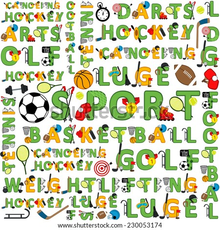 seamless sport pattern of words - vector illustration, eps - stock vector