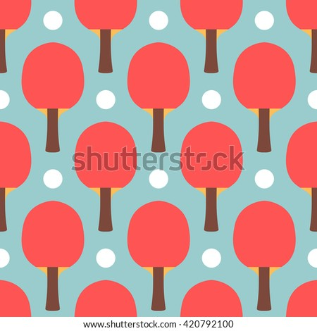 Seamless sport table tennis ping pong pattern. Flat style tile texture background. Playing game template. Racket and ball vector background perfect for wallpaper, web page background, texture, textile - stock vector