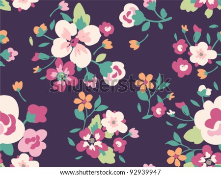 seamless spring cute vintage rose pattern on purple background - stock vector