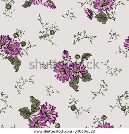 Seamless spring daisy flower pattern  - stock vector