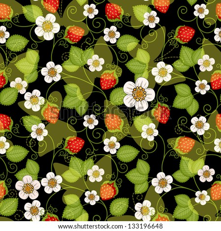 Seamless spring dark floral pattern with strawberries and flowers and translucent butterflies (vector EPS 10) - stock vector