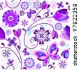 Seamless spring floral pattern with violet and blue translucent flowers and butterflies (vector EPS 10) - stock photo