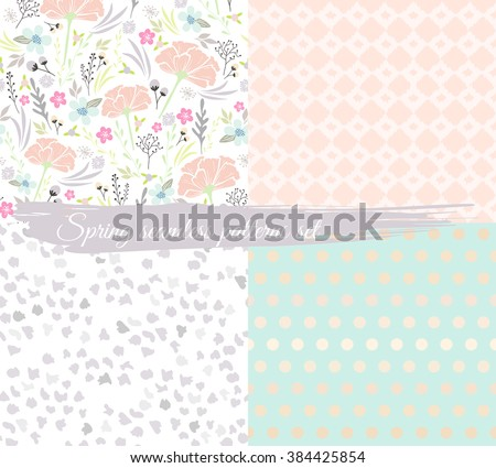 Seamless spring floral patterns set. Background with flowers, leafs, animal print and polka dot. - stock vector