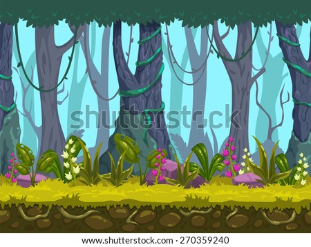 Seamless spring forest landscape, never ending vector nature background with separated layers for game design - stock vector