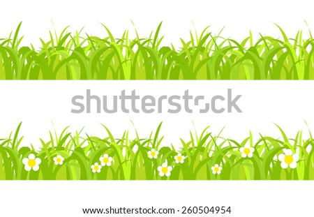 Seamless spring grass on a white background with flowers - stock vector
