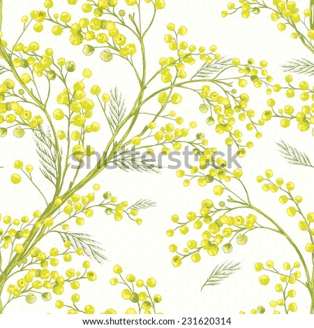 Seamless Spring Pattern with Sprig of Mimosa  - stock vector