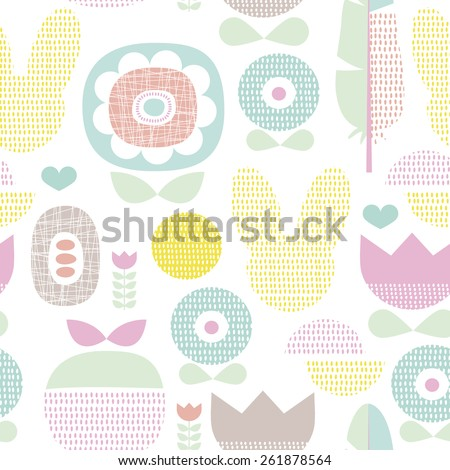 Seamless spring poppy flowers and bunny fruit illustration pastel easter background pattern in vector