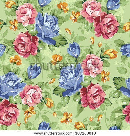 Seamless spring style pattern with pink rose on floral background. Abstract Elegance vector illustration texture. - stock vector