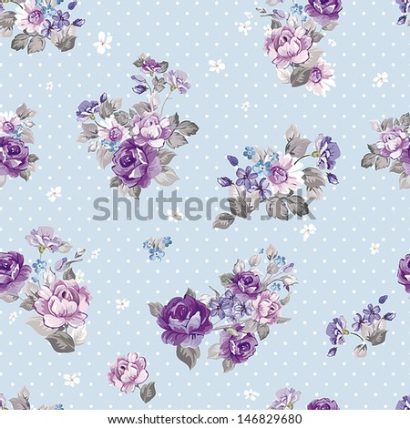 Seamless spring vintage floral pattern background. Beautiful vector illustration texture - stock vector