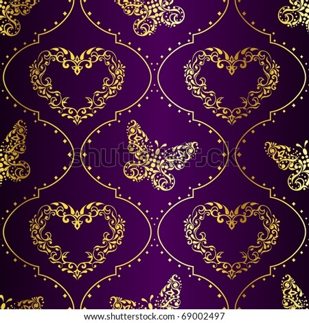 Seamless springtime background in gold and purple (EPS10); jpg version also available - stock vector