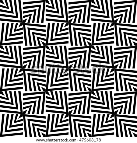 Seamless Square Pattern. Abstract Optical Illusion Background. Vector Regular Geometric Texture