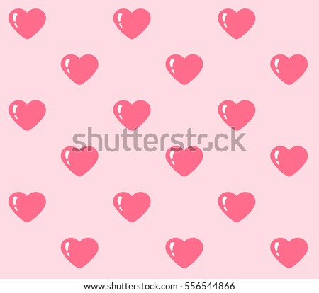 Seamless St. Valentinu0027s Day Pattern With Pink Hearts On Light Pink  Background