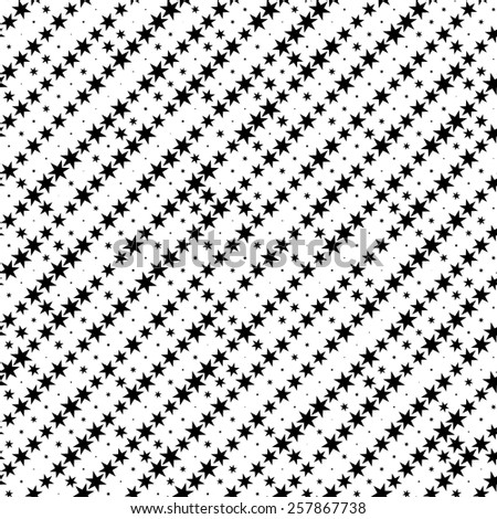 Seamless Star Pattern. Abstract Black and White Background. Vector Regular Texture