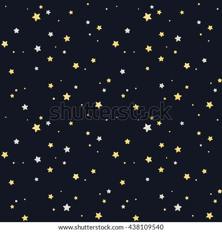 Seamless star pattern. Silver and golden stars on black background. Tileable vector texture. - stock vector