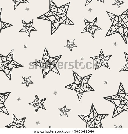 Seamless stars pattern. Hand drawn abstract background in vector format. Monochrome childish pattern. Grunge style