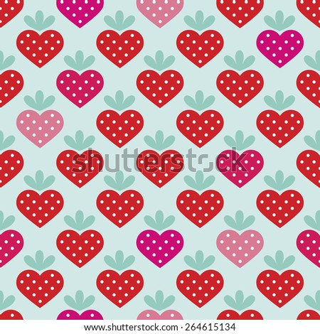 Seamless strawberry fruit heart with polka dot filling background pattern in vector - stock vector