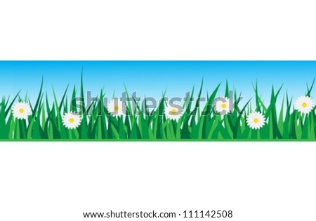 seamless strip of grass with daisies on a background of the sky - stock vector