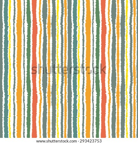 Seamless strip pattern. Vertical lines with torn paper effect. Shred edge background. Green, gray, orange, terracotta, olive, yellow, pastel colors on white. Vector illustration
