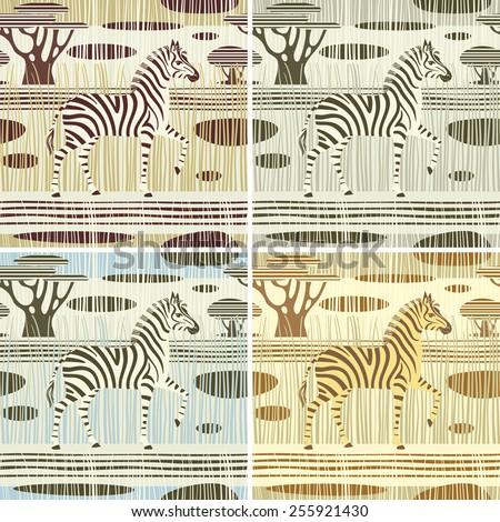 Seamless striped backgrounds set. Zebra in african savannah. Vector illustration. - stock vector