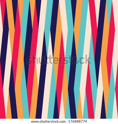Seamless striped color background pattern - stock vector