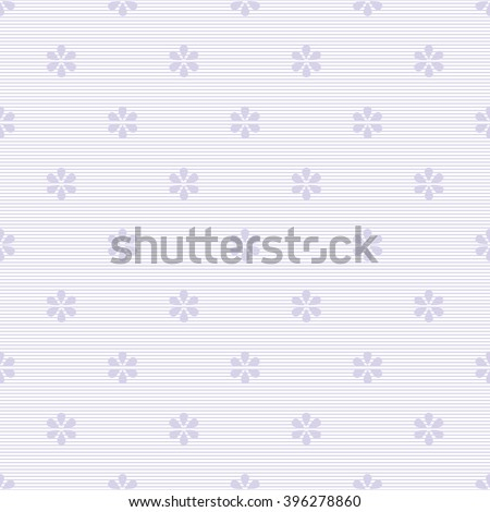 Seamless striped floral pattern in white and pastel purple colors. Thin horizontal stripes with drop-shaped petals flowers. Cute simple baby print. Vector illustration for fabric, paper and other - stock vector