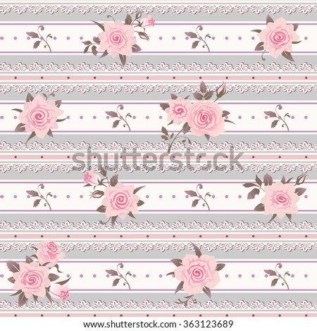 Seamless Striped Pattern With Pink Roses Leaves And Laces Vector Floral Shabby Chic Background