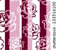 Seamless striped pattern with roses. Vector illustration. - stock vector