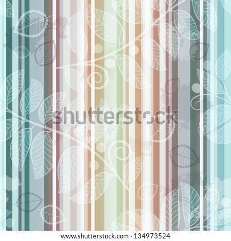 Seamless striped pattern with translucent leaves in grunge style (EPS 10 vector) - stock vector