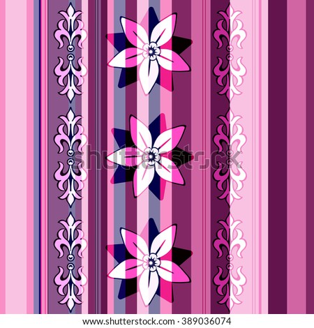 Seamless striped pattern with vintage flowers (vector EPS 10) - stock vector