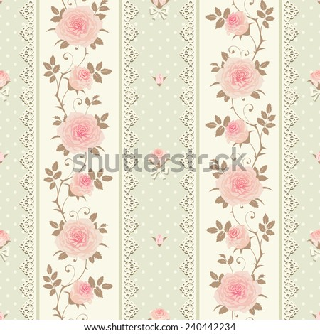 Seamless striped polka dot pattern with climbing roses and laces. Vector floral background. - stock vector