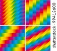Seamless Striped Spectrum Patterns Set. Vector Illustration - stock vector
