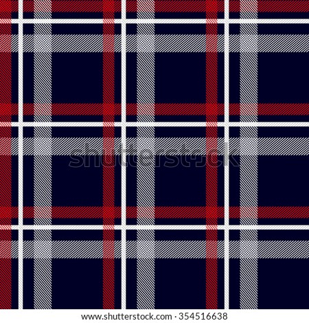 Seamless stripped fabric pattern. Retro textile collection. Dark blue, red, white. Backgrounds & textures shop. - stock vector