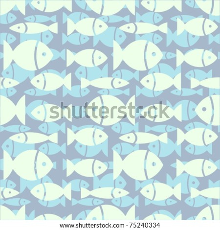 Seamless structure with blue small fishes