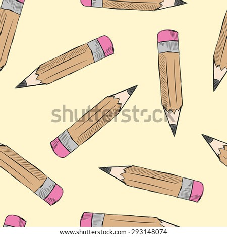 Seamless structure with simple pencils with eraser - stock vector