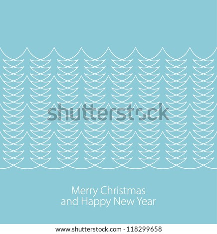 Seamless stylish christmas tree border on blue background. Vector illustration - stock vector