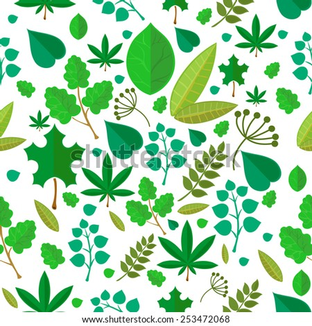 Seamless stylized green leaf pattern background for design