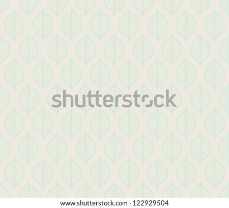 Seamless stylized leaf pattern background - stock vector