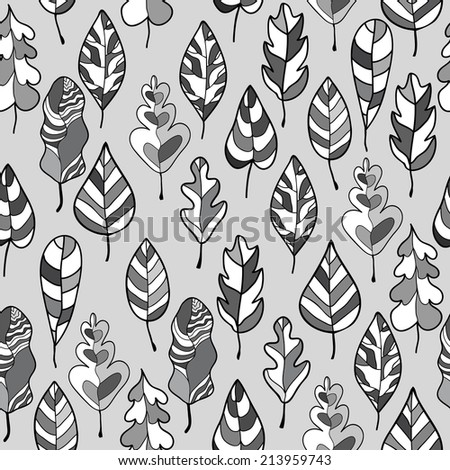 seamless stylized leaf pattern decorative template stock vector