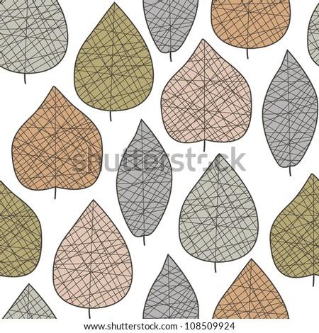 Seamless stylized leaf pattern. Vector illustration - stock vector