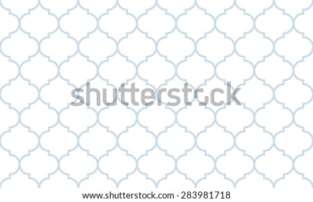Seamless subtle blue and white wide moroccan pattern vector - stock vector