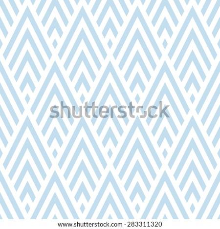 Seamless subtle blue rhombic chevrons art deco pattern vector - stock vector