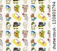 seamless summer animal pattern,cartoon vector illustration - stock vector
