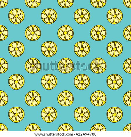 Seamless summer background. Hand drawn pattern. Suitable for fabric, greeting card, advertisement, wrapping. Bright and colorful lemon slices backdrop - stock vector