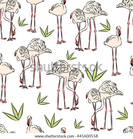 Seamless summer background with flamingos. Pink flamingo. Vector illustration drawn by hand.