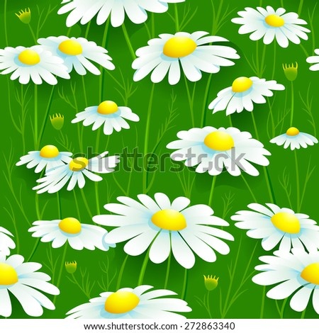 Seamless summer chamomile meadow pattern - stock vector