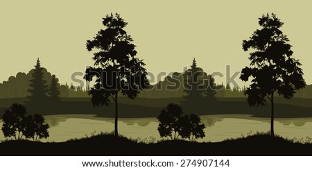 Seamless Summer Evening Landscape, Trees Silhouettes and Forest River. Vector - stock vector