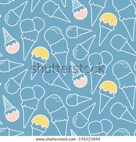 Seamless summer ice cream pattern (blue background) - stock vector