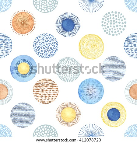 Seamless summer pattern with hand-drawn and watercolor circles texture, abstraction colorful illustration on white background.