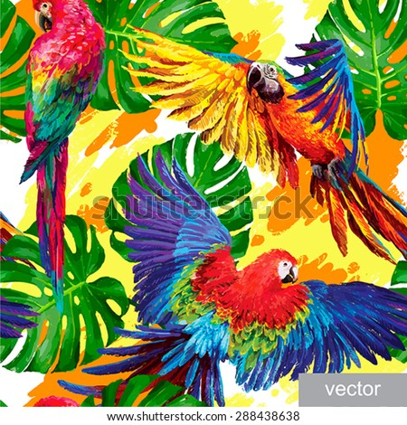 Seamless summer pattern with tropical parrots and monstera leafs. Exotic textile. Vector. - stock vector